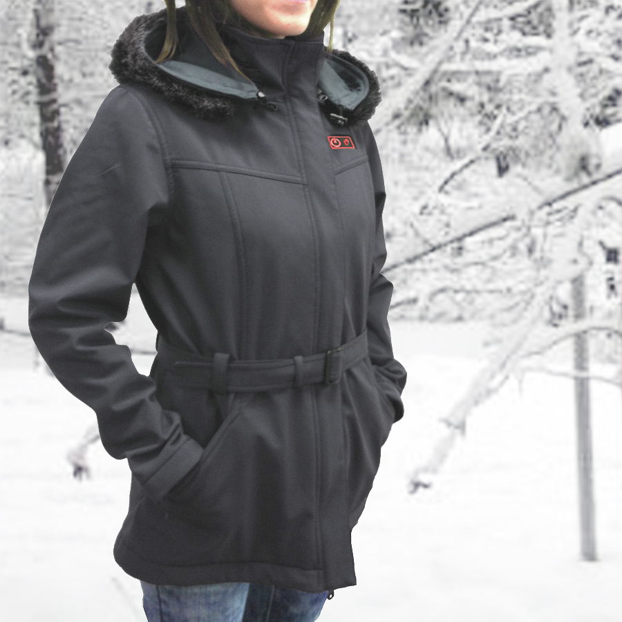 Womens Heated Clothing >> Women S Battery Hooded Soft Shell Heated Jacket With Heated Glove Liners